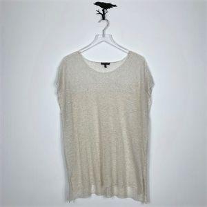 Eileen Fisher Bone Crepe Linen Blend Sweater Top